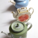 Barlaston shape teapot and cover in 'Summer Sky' pattern, 1955;
