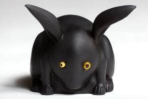 Black basalt rabbit by Sheldon, c.1911