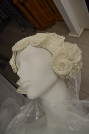 Sample wig from Gems Ltd produced from period reference material. The paint finish was considered too pale and further layers were added to match the mannequin face.