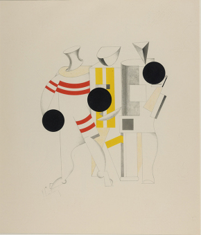 El Lissitzky: Costume design for the Sportsmen from Victory over the Sun (unrealised), 1923. Lithograph on paper. St. Petersburg Museum of Theatre and Music, St. Petersburg.