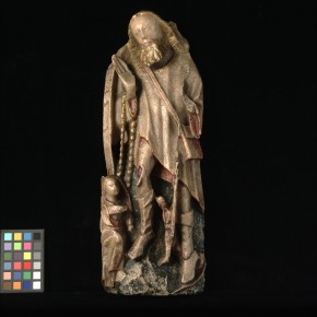 A.130-1946, alabaster statue of St. Roch - if you look very carefully there is a dog behind his left leg holding a loaf of bread © Victoria and Albert Museum, London