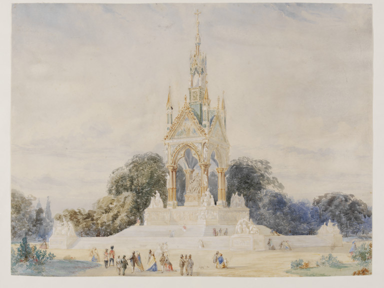 An original design for the Albert Memorial, possibly that submitted to Queen Victoria in January 1863, showing the monument in Kensington Gardens, with groups of spectators.  Watercolour  and gouache drawing, possibly by Sir George Gilbert Scott. Museum number E.2601-1962 ©Victoria and Albert Museum, London