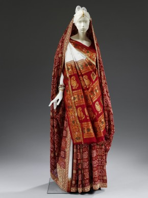 Panetar and Gharchola saris worn by Anjali Bulley for her wedding, 1988 © V&A Collection