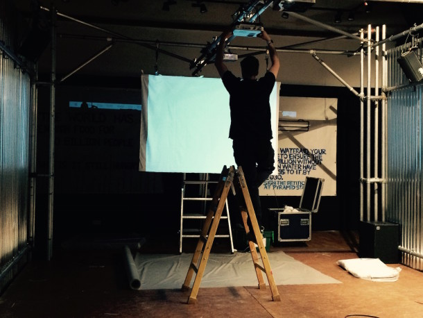 Oli from Hawthorn adjusting screens and projectors!