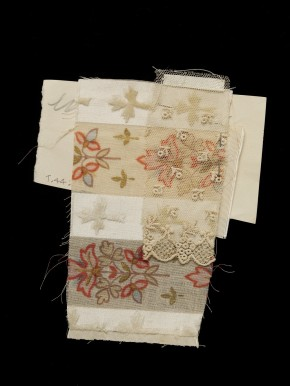 Prince Beatrice trousseau swatch - Striped linen and silk with floral sprays and sprigs, pinned to lace fragment.