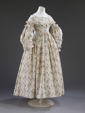 Block printed cotton wedding dress, worn by Sarah Maria Wright, 1841