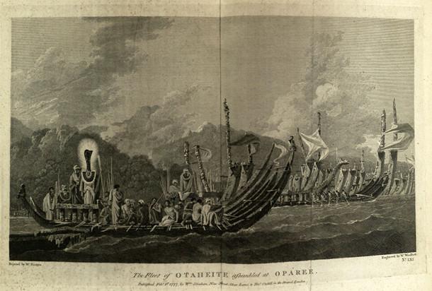 View of Tahitian boats showing islanders wearing ceremonial dress