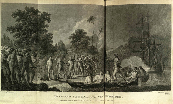 The Landing at Tanna, showing the light effects caused by localised cloud formations