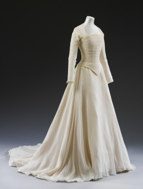 White silk wedding dress by Jasper Conran, worn by Lady Sarah Chatto, 1994