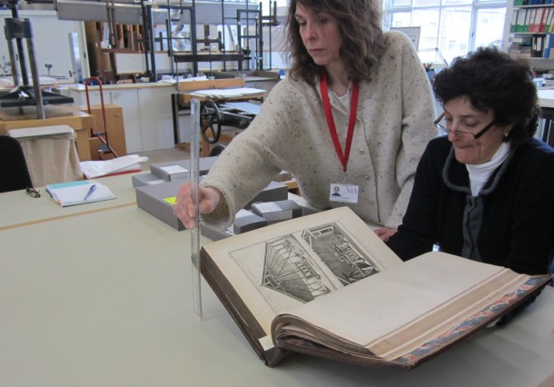 Measuring the 'display height' of the book when open at the required page © Victoria and Albert Museum, London