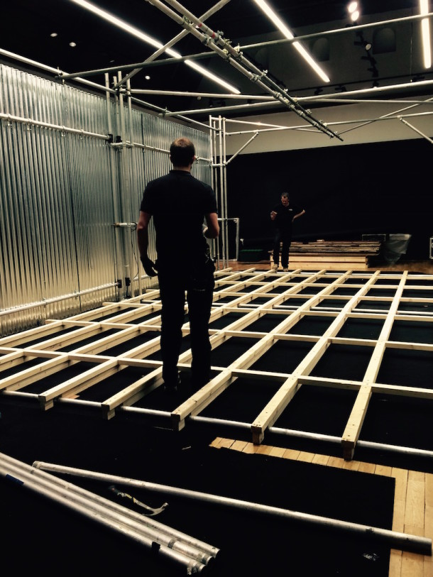 Oli and Adam from Hawthorn building the installation's outer structure