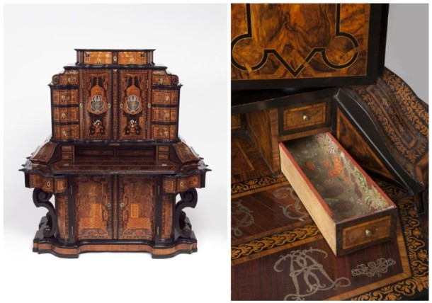 The inside of one of the many drawers from an imposing 1716 writing cabinet. Made in Würzburg by Jacob Arend of  Koblenz and Johannes Wittalm of Vienna, working for Servatius Arend, the court  cabinet-maker in Würzburg. V&A W.23-1975