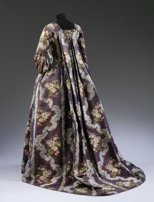 Now captured in all ts glory. Sack back gown and petticoat, purple silk, brocaded with flowers and lace,  French, 1765-1770 V&A T.70-1913