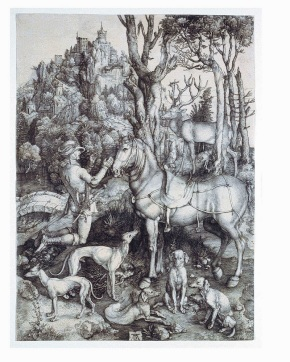E.4652-1910, engraving by Durer showing St. Eustace's encounter with the stag © Victoria and Albert Museum, London