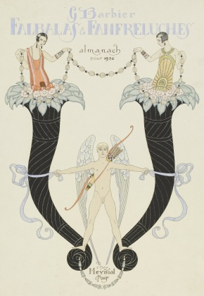 George Barbier. Cover page for a 1926 edition of  Falbalas et Fanfreluches E.615-1954