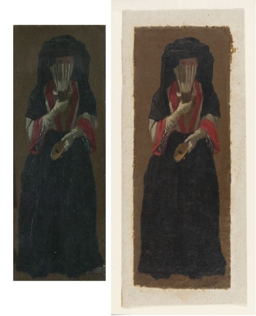 Before and after recent conservation work. 'A Lady Seen in Full Face', oil painting, Luca Carlevarijs, probably Italy, ca.1700-1710 V&A P.78-1938