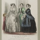 Hand-coloured engraving by Jules David featuring wedding and day dress designs by Popelin-Ducarre and Plé-Horain. Published in Le Moniteur de la Mode, 1851-2