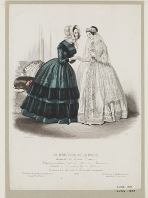 Fashion plate from  Le Moniteur de la Mode, mid 1840s