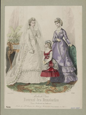 French fashion plate by Laure Noël & Paul Lacouriere. Wedding dress, day dress and girl's dress by Madame Hamin. Paris, April 1870