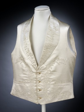 Satin waistcoat embroidered in floral design, 1848