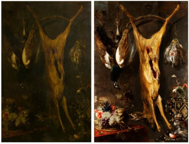 Before and after photographs of Frans Snyders' 'Still Life with a Dead Stag', Flemish school, 1640s V&A 4418-1857