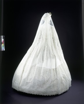 Silk-satin wedding dress and Honiton veil worn by Eliza Clay, 1865