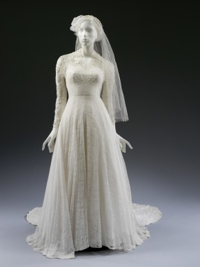 Machine-made lace and silk wedding dress by Isobel, 1953