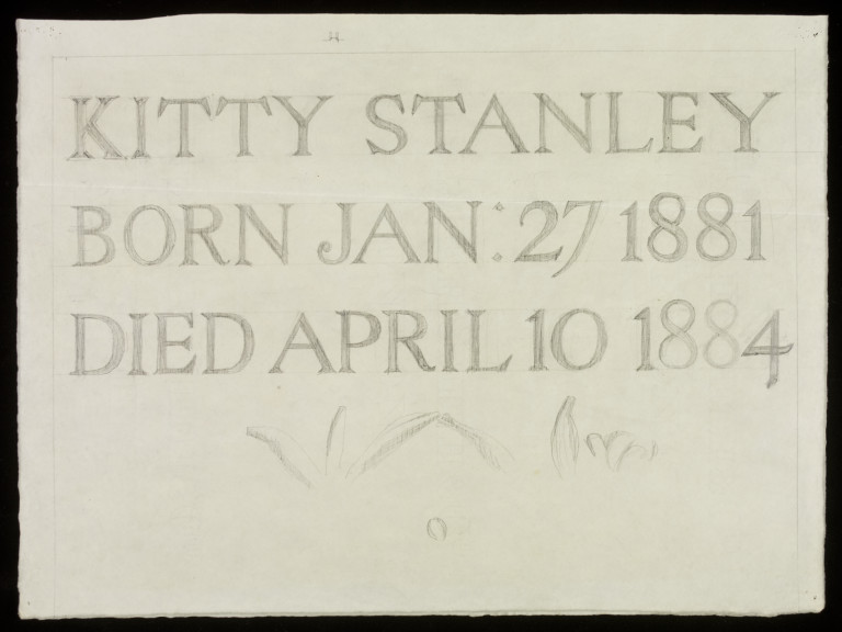 Design for a tombstone for Kitty Stanley by Philip Webb, c.1884. Museum number E.311-2014.