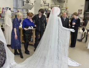 Edwina and I consult Katie, Gareth and Stephen on the mounting of Katie's dress © V&A Collection