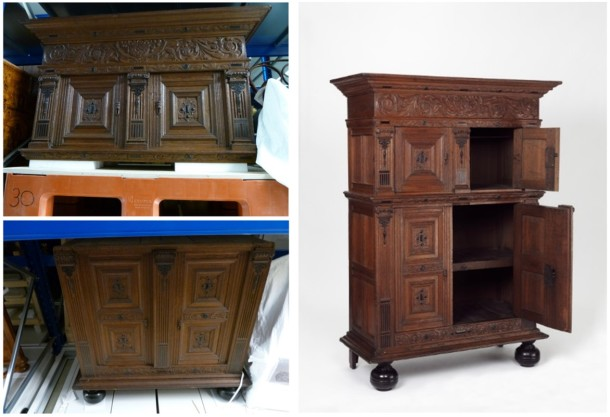 This two-stage oak cupboard is nearly 2 metres high and over 120cm wide. As it is so big, its two parts are ordinarily stored separately in our rolling racks. A number of technicians were required to transport and assemble this piece. V&A 860-1907