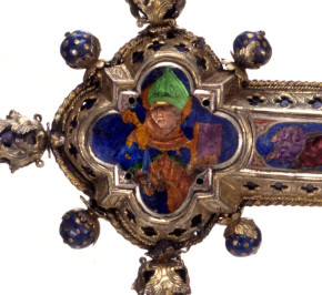Detail of M.580-1910, altar cross, showing a very colourful enamel Louis © Victoria and Albert Museum, London