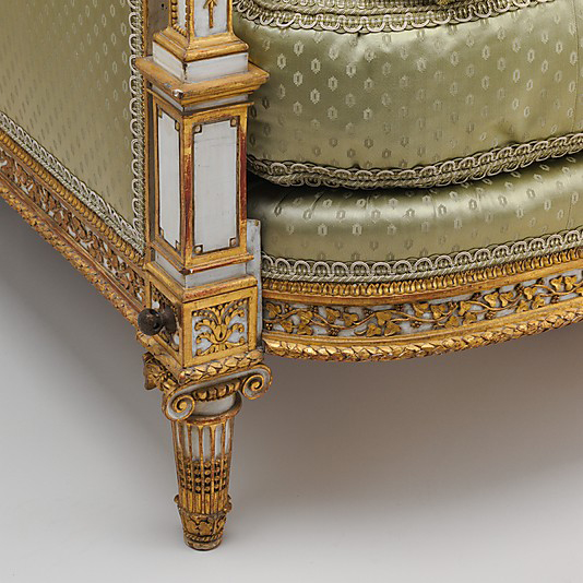 Detail of leg base on daybed at the Metropolitan Museum of Art, New York