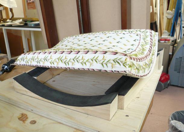 Upholstered wooden stretcher-frame
