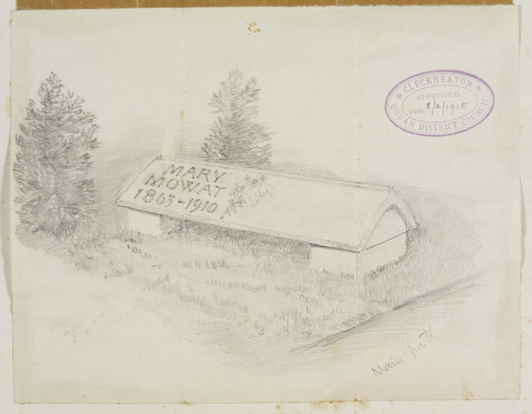 Design drawing of gravestone for Mary Mowat by Philip Webb, ca.1910-1915. Museum number E.446-2014 ©Victoria and Albert Museum, London