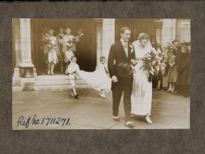 Wedding photograph of Greville and Maud Steele leaving their wedding in November 1927 © V&A Collection