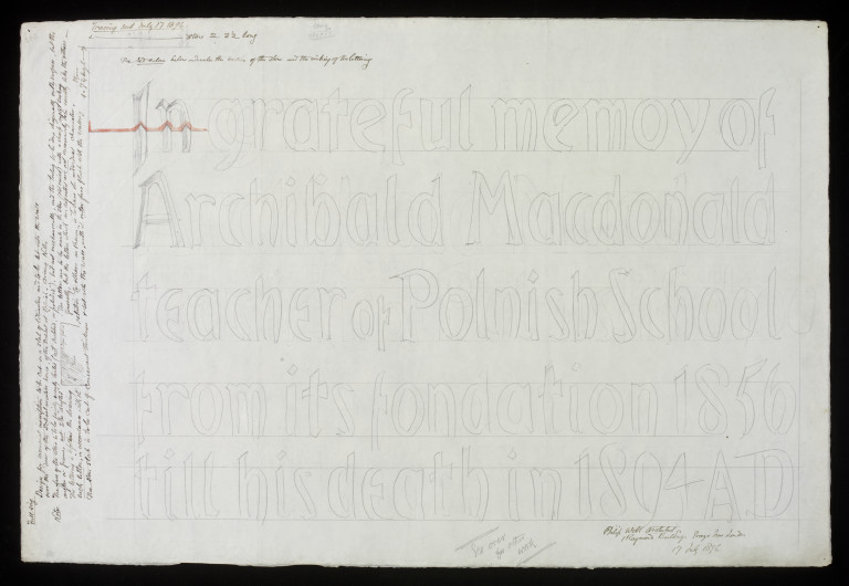 Design drawing for gravestone of Archibald Macdonald by Philip Webb, 1896. Museum number E.473-2014