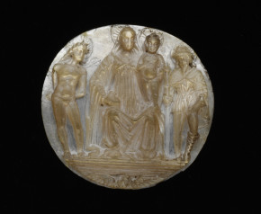 A.7-1922, relief showing SS. Sebastian (L) and Roch (R) flanking the Virgin and Child © Victoria and Albert Museum, London