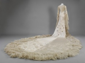 Margaret Whigham's wedding dress by Norman Hartnell, 1933, has an 18 foot train