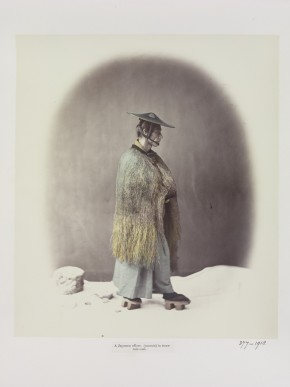 377-1918 Photograph 19thC, Views of Japan, 1868; Beato, An officer in straw rain-coat 1868 © Victoria and Albert Museum, London