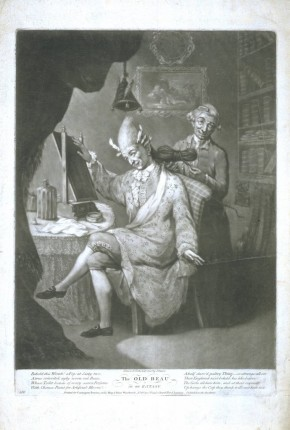 E.325-1959. Mezzotint print after John Dixon, 'The Old Beau in an Extasy', 1773. Not on display.
