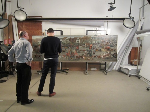 Photographers preparing the studio to photograph the large Ommegang painting © Victoria and Albert Museum, London
