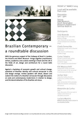 Brazilian Contemporary Roundtable Event Invite. Victoria and Albert Museum, 2014.