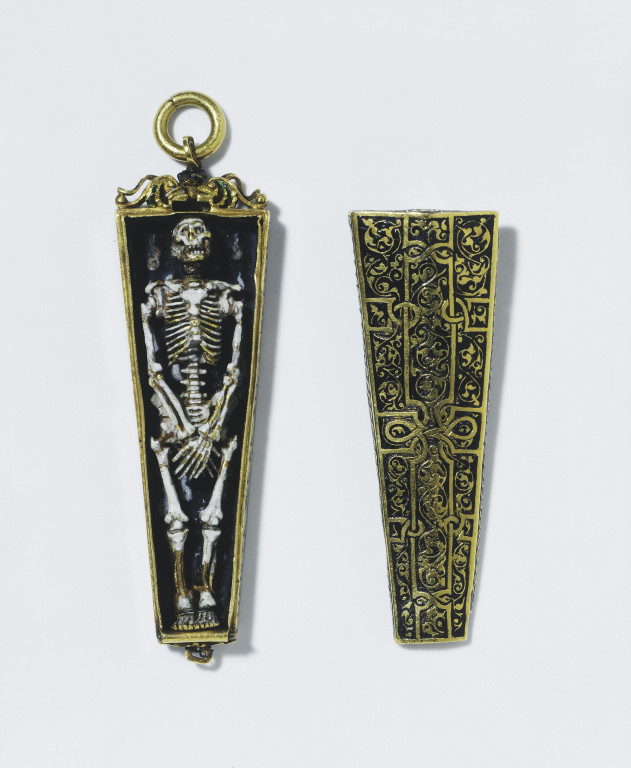 The Torre Abbey Jewel, memento mori pendant in the form of a skeleton in a coffin, enamelled gold, England, ca.1540-1550