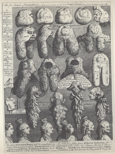 The Five Orders of Perriwigs, satirical engraving by William Hogarth, London, 1761