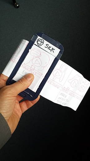 Paper prototype of a mobile phone app
