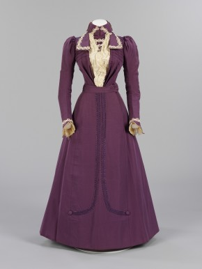 Purple silk bodice and skirt, trimmed with cream satin and lace. Made and worn by Harriet Joyce, 1899