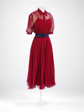 Ruby red silk gauze wedding dress, worn by Monica Maurice, 1938
