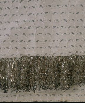 Silver fringe trim on Sarah Boddicott's wedding dress, 1779 © V&A Museum Collection