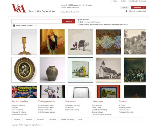 Currently more than a quarter of a million object images are now available online through the V&A's award-winning Search the Collections site © Victoria and Albert Museum, London