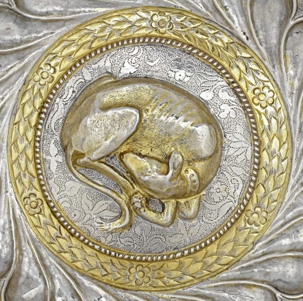 DETAIL OF HUNTING BOWL WITH SLEEPING DOG Silver, partly gilt Venice (Italy), ca. 1480–90 Museum no. Loan:Gilbert.544-2008